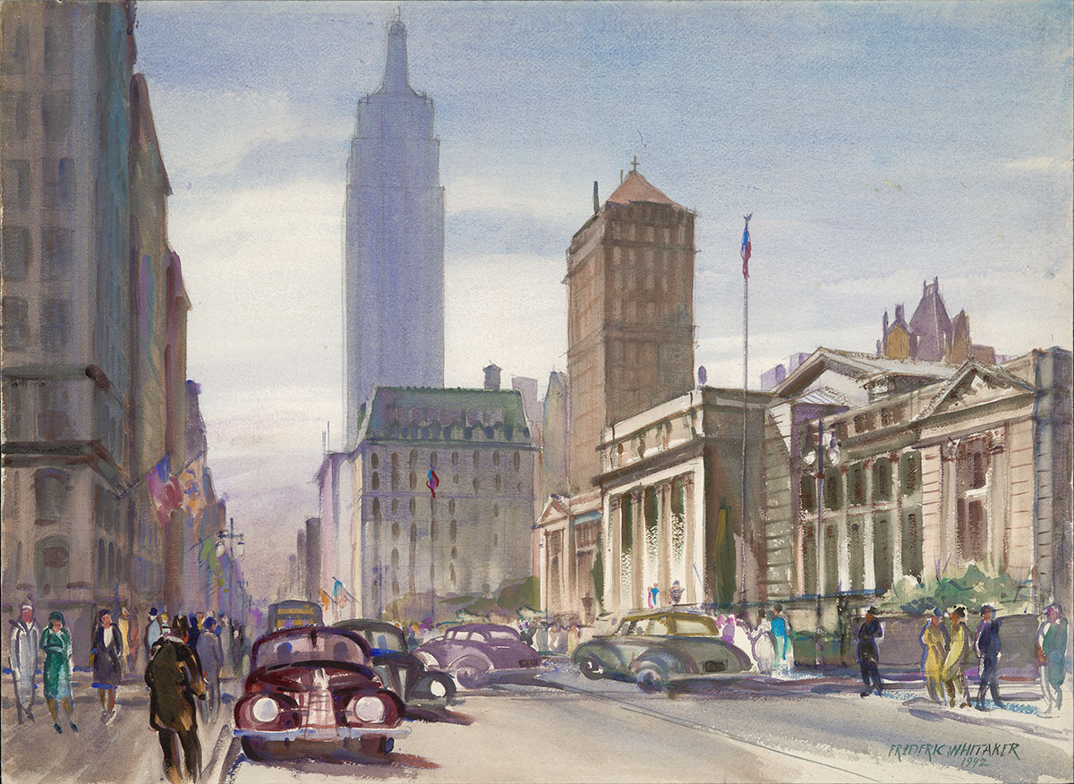 """Fifth Avenue Looking South"" 1942 © Frederic Whitaker 22x30 inches Watercolor"