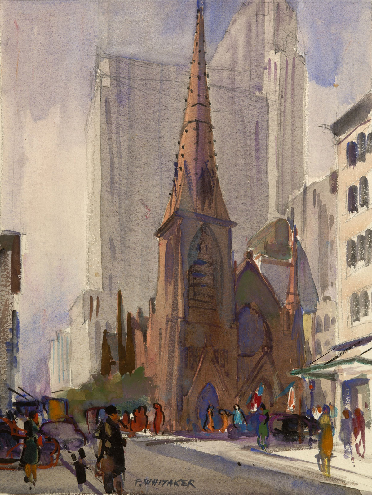 """Fifth Avenue Church"" 1942, © Frederic Whitaker 15x11.25 inches"