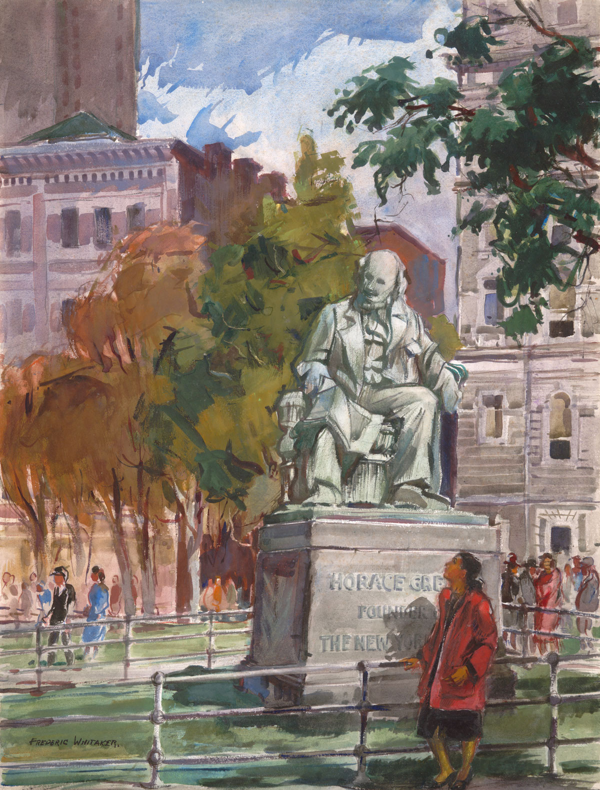"""""""Horace Greeley Statue"""" © Frederic Whitaker 1940s 28.85 x 22 inches watercolor"""