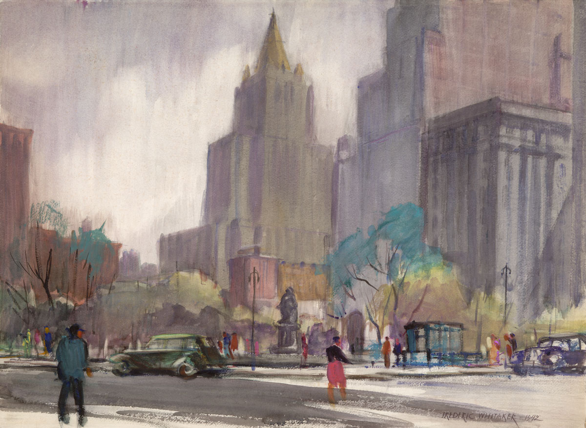 """Madison Square"" 1942 © Frederic Whitaker 22x30 inches"