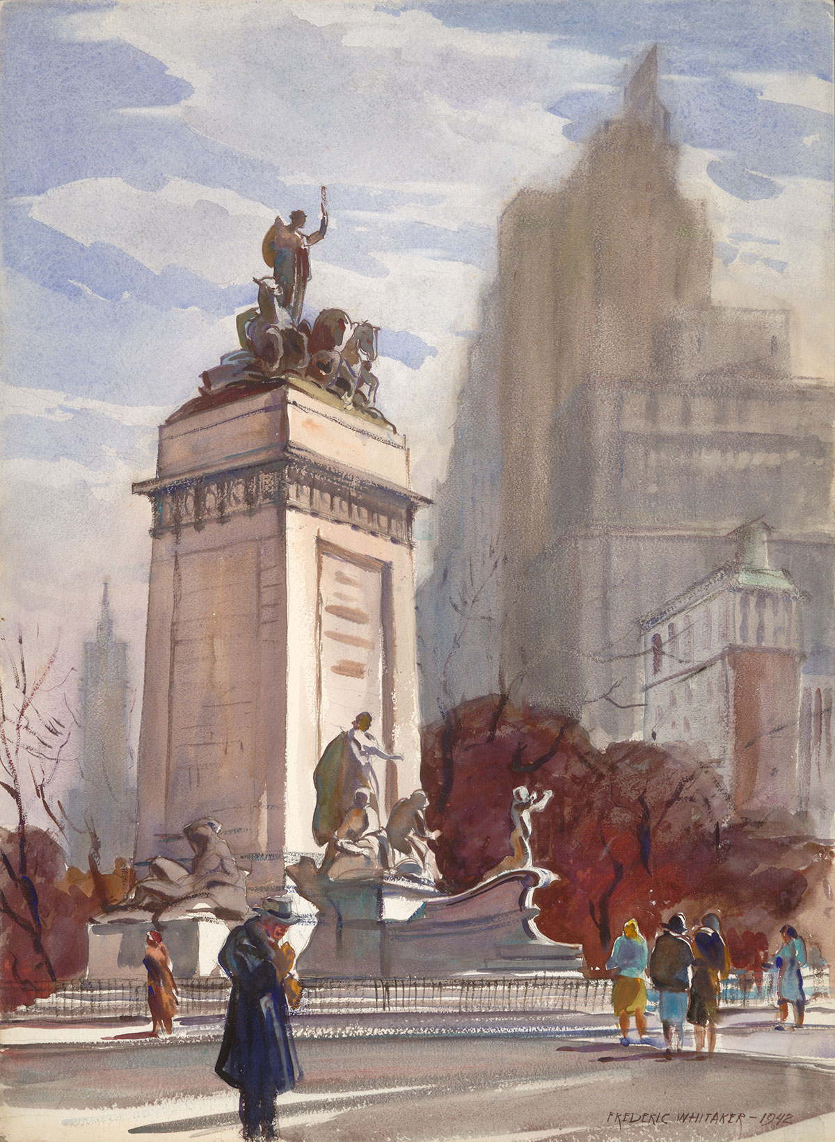 """Maine Monument"" 1942 © Frederic Whitaker 30x22 inches Watercolor"