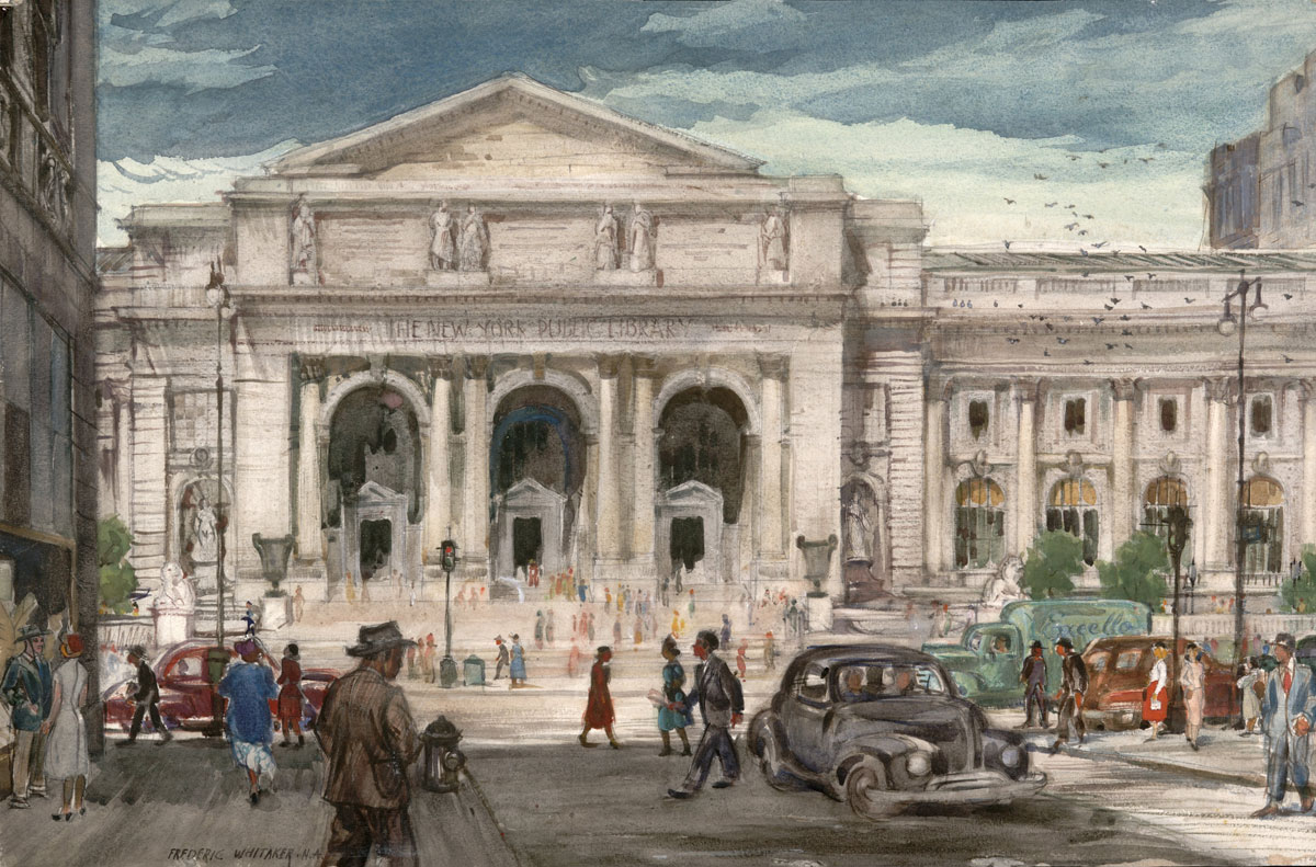 """""""New York Public Library 1951 © Frederic Whitaker N.A. 18x27.5 inches"""