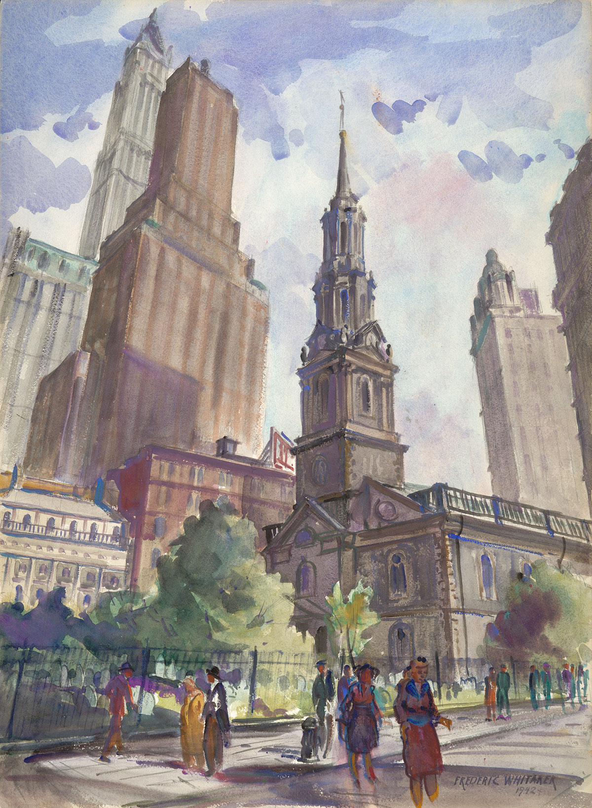 """Trinity Church"" 1942 © Frederic Whitaker 30x22 inches Watercolor"