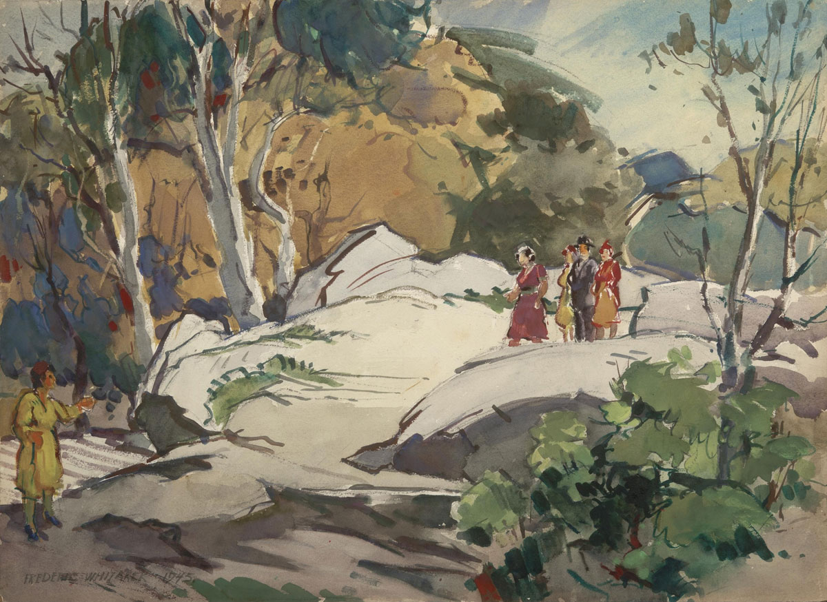 """Walk in the Park"" 1945 © Frederic Whitaker 1/4 sheet Watercolor"