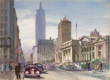 """""""Fifth Avenue Looking South"""" 1942 © Frederic Whitaker 22x30 inches Watercolor"""