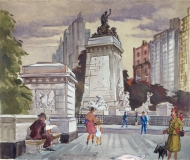 """""""Portal of the Park"""" 1944 © Frederic Whitaker 22x26 inches Watercolor"""