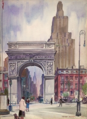 """Washington Square Arch"" 1942 © Frederic Whitaker 14x19 inches Watercolor"