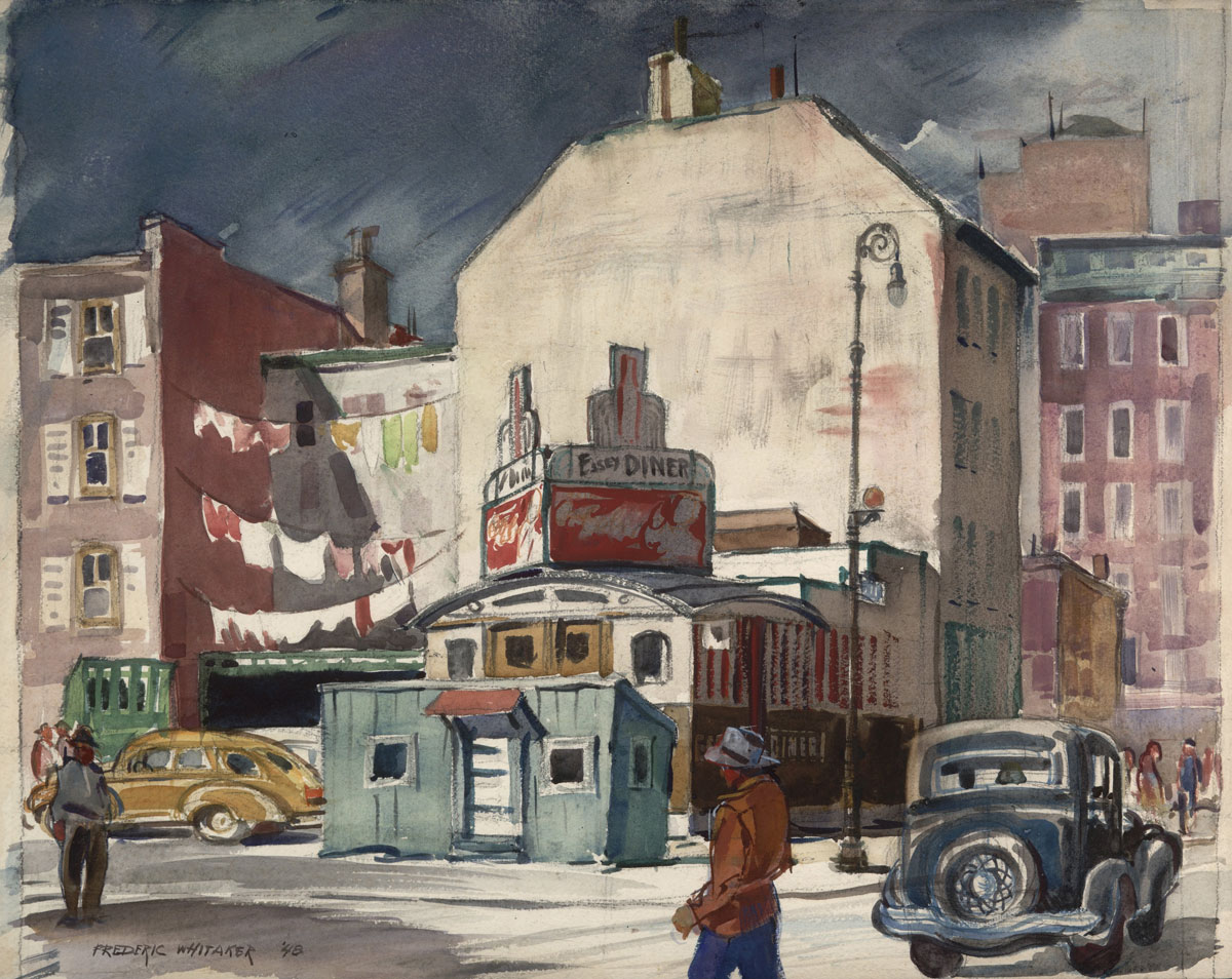"""Easy Diner"" 1948 © Frederic Whitaker 16.5x19.75 inches"