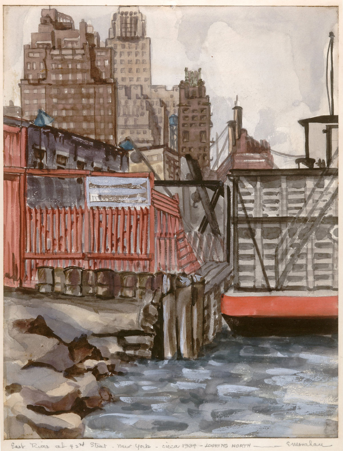 """""""42nd Street Dock on the East RIver"""" 1934 © Eileen Monaghan Whitaker Watercolor"""