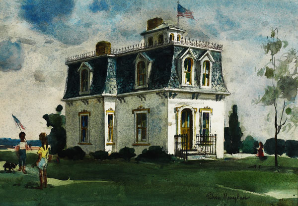 """""""Fourth of July"""" © Eileen Monaghan Whitaker 14x20  inches Watercolor"""