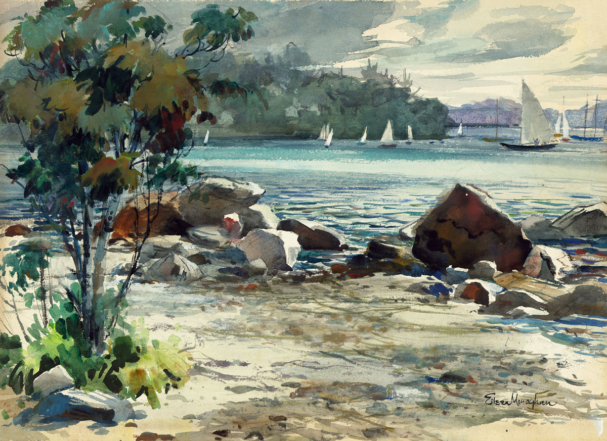 """""""The Inlet (The Cove)"""" 1940 © Eileen Monaghan Whitaker 16x22 inches"""