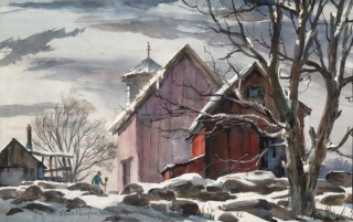 """New England Winter""  © Eileen Monaghan Whitaker  (date unknown) 17x27 inches"