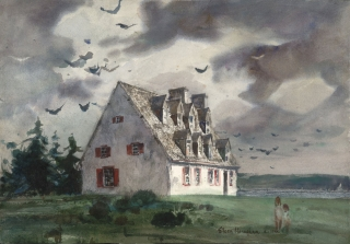 """Quebec Dormers"" date unknown © Eileen Monaghan Whitaker 14.75 x 21.25"