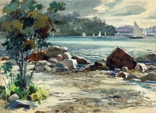 """The Inlet (The Cove)"" 1940 © Eileen Monaghan Whitaker 16x22 inches"