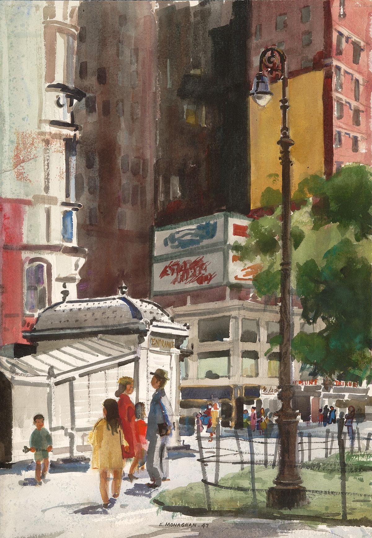 """Manhattan Detail"" 1940s © Eileen Monaghan whitaker 14x20 inches Watercolor"