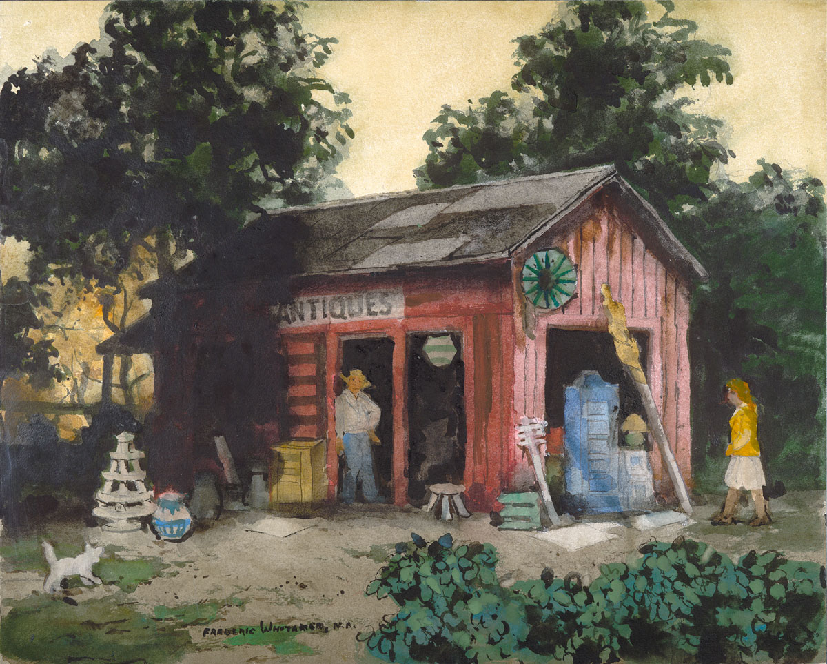 """Antique Shop"" © Frederic Whitaker 22x27.5 inches (date unknown) Watercolor"