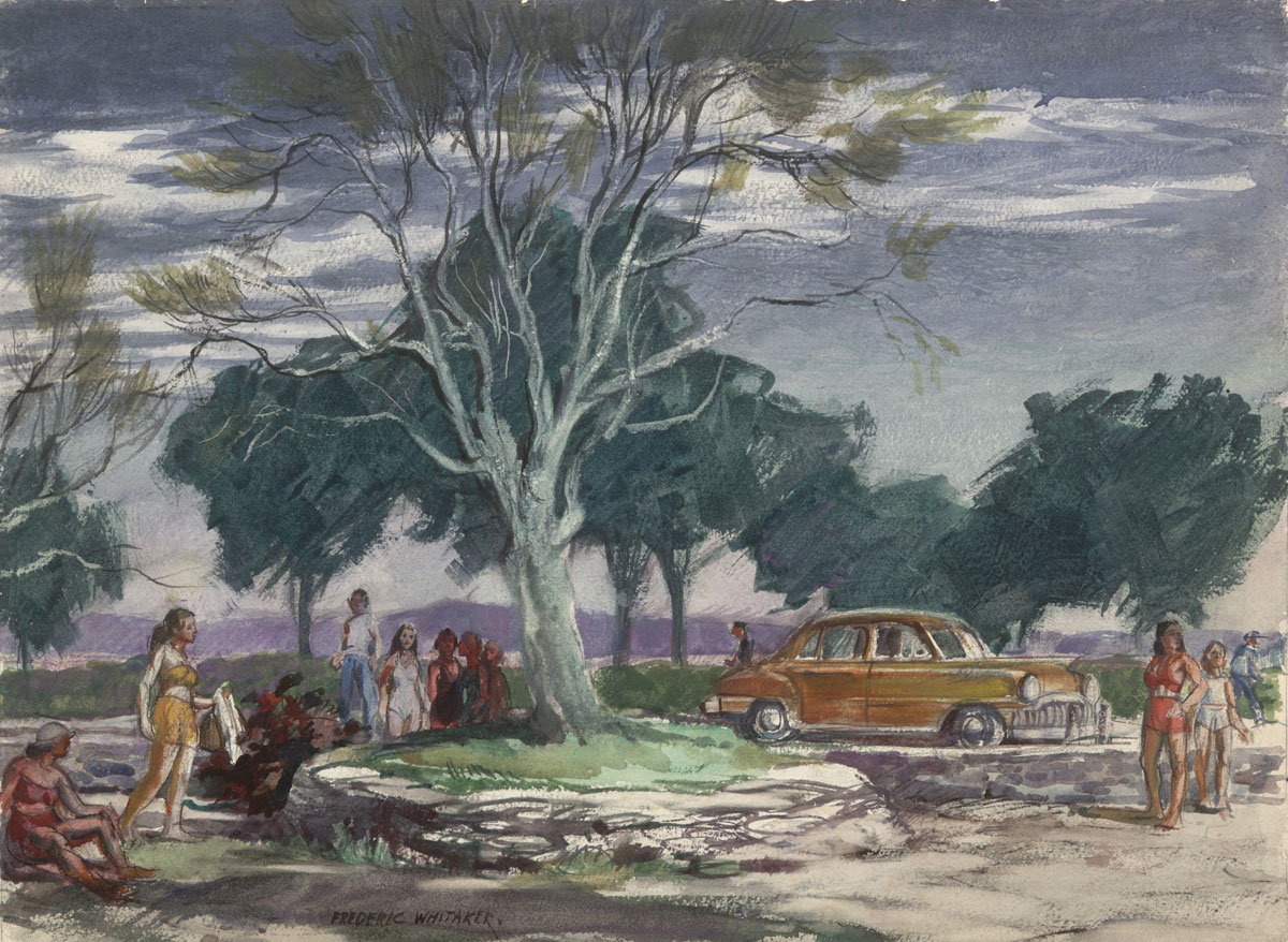 At the Beach on Sherwood Island (date unknown) © Frederic Whitaker 22x30 inches Watercolor