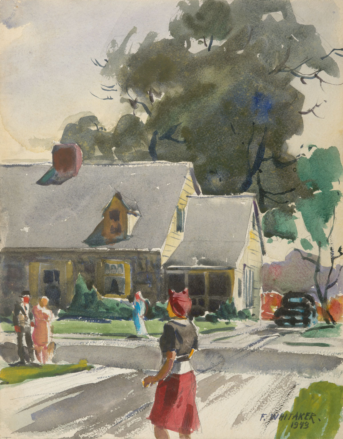 """New England Street Scene"" 1943 © Frederic Whitaker (size unknown) Watercolor"