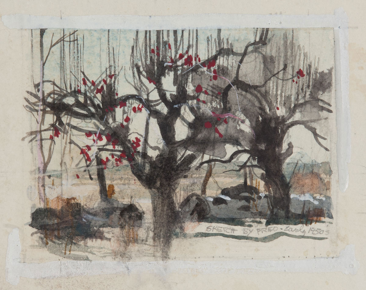 """Old Apple Trees in Bethel Connecticut"" 1950s © Frederic Whitaker N.A 4x5 inches Sketch"