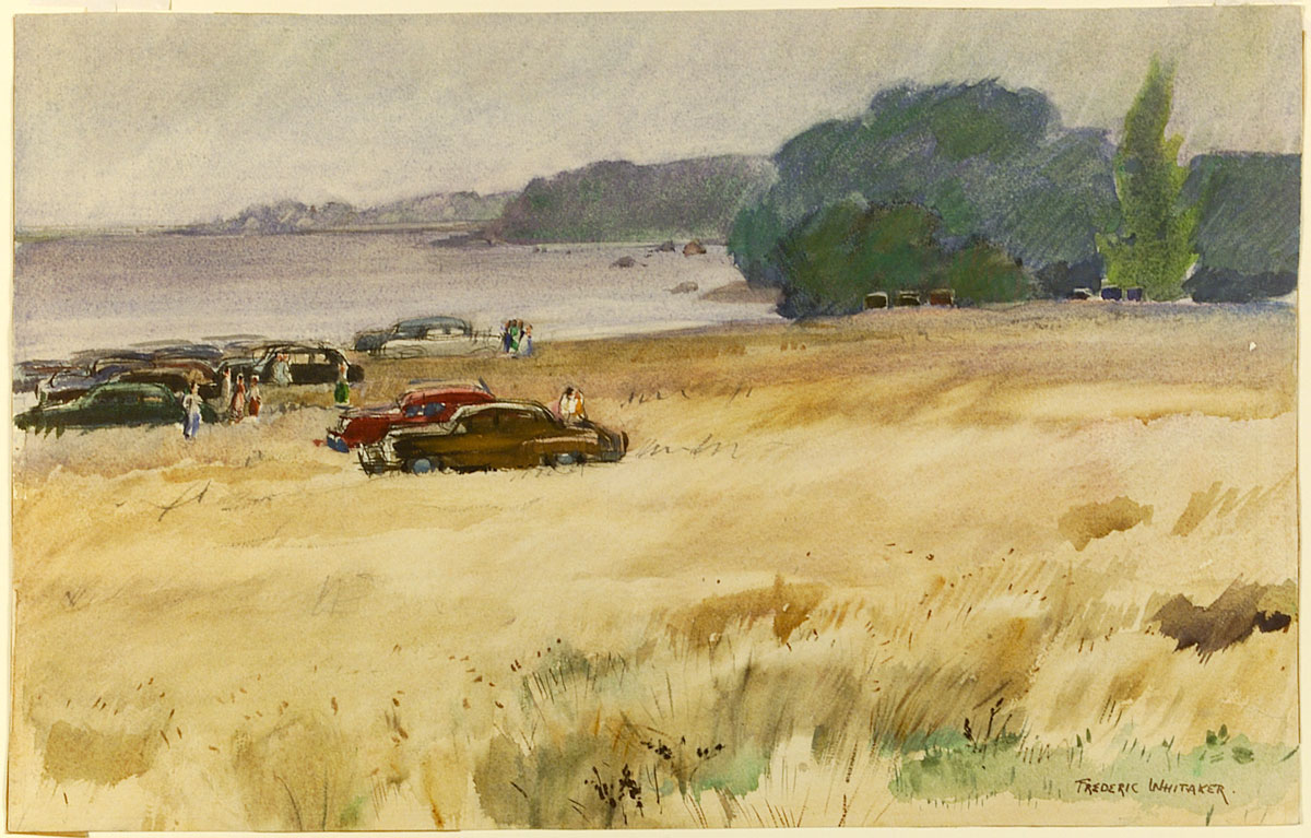 """Picnic Gathering"" 1955 © Frederic Whitaker 14x22 inches Watercolor"