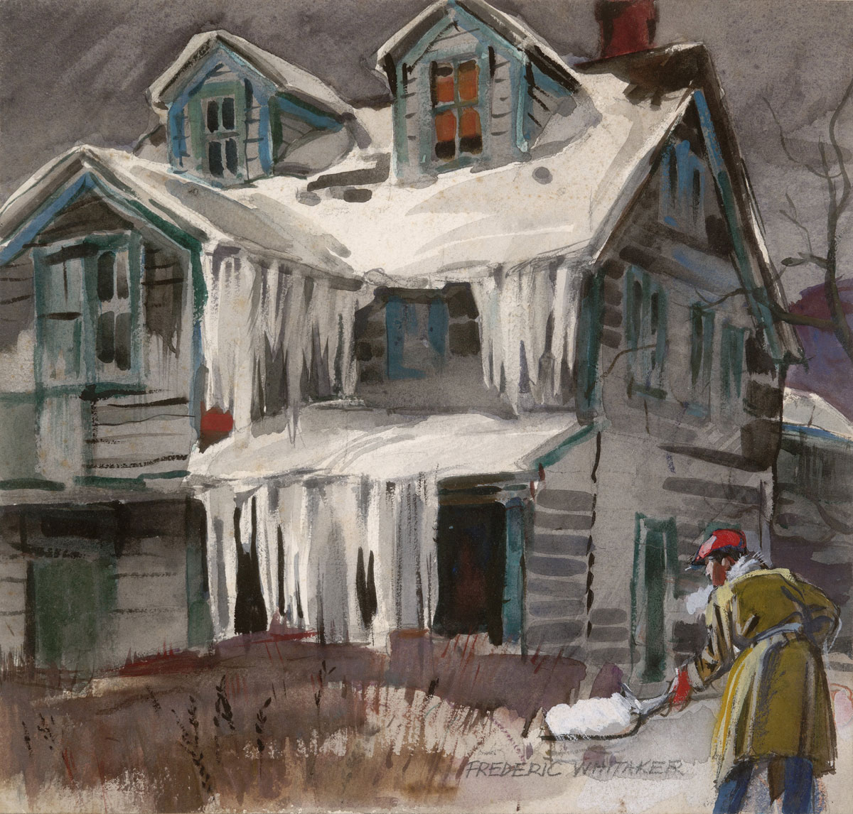 """Snow Shoveler"" 1947 © Frederic Whitaker 10x11 inches Watercolor - Livingston Manor, N.Y."
