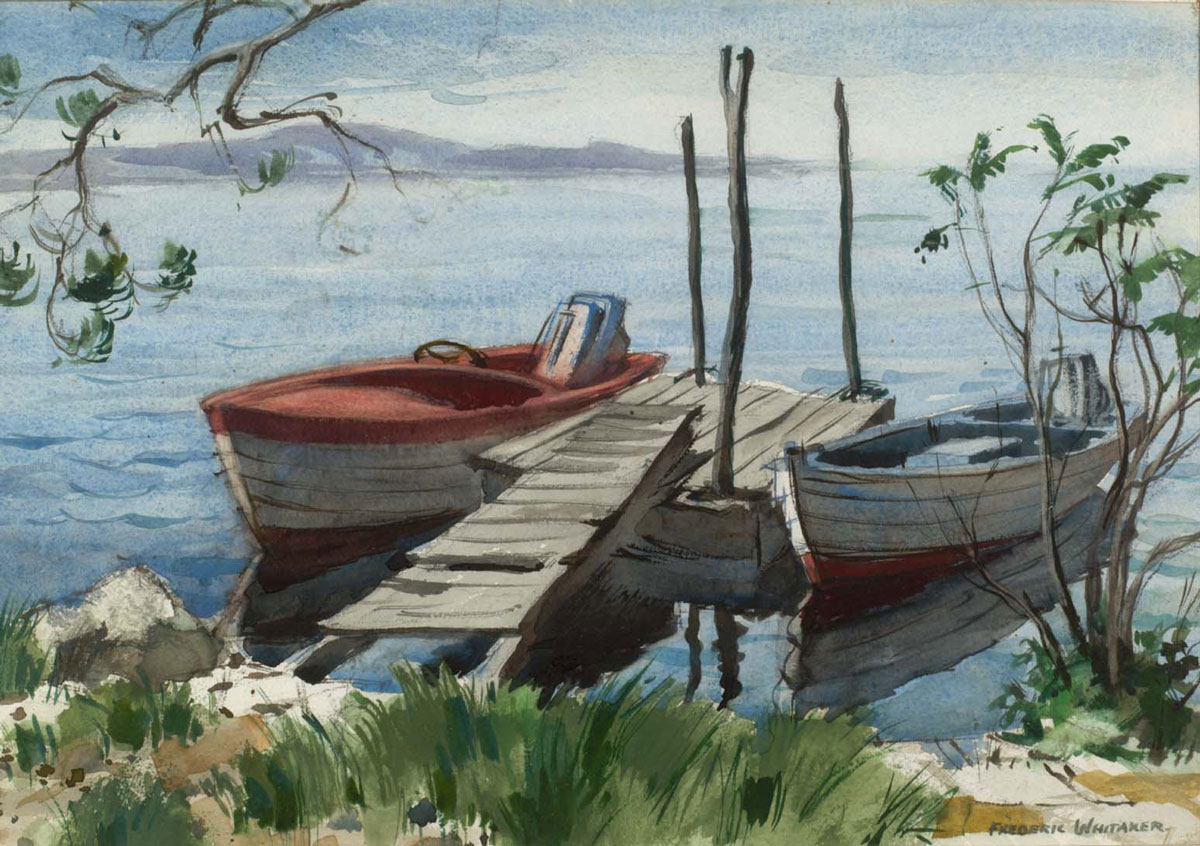 """They Also Serve Who Only Stand and Wait"" 1964 © Frederic Whitaker 20x14 inches Watercolor - Norwalk Bay, Connecticut"