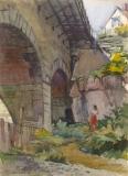 """""""Bridge"""" © Frederic Whitaker 16x22 inches Watercolor"""