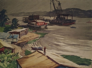 Connecticut Harbor 1947 © Frederic Whitaker 15.5x21.5 inches Watercolor