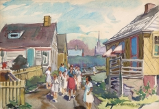 """""""Home From Church"""" 1944 © Frederick Whitaker 14x20 inches Watercolor"""