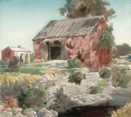 """Ivy Covered Barn"" 1969 © Frederic Whitaker 22x24 Watercolor"