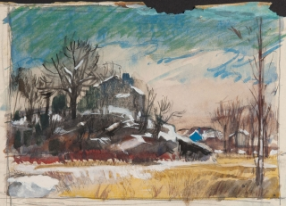 """New England Scene"" 1940s © Frederic Whitaker 5.75x8.25 inches Watercolor"