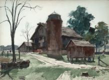 """Rhode Island Barn"" 1969 © Frederic Whitaker 22x30 inches Watercolor"