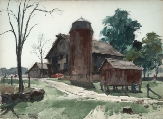 """Rhode Island Barn"" 1969 © Frederic Whitaker 22x30 inches Watercolor"