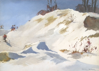 """Snow Bank"" © Frederic Whitaker (date and size unknown) Watercolor"