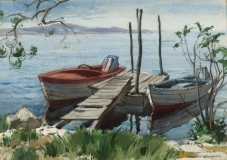 """""""They Also Serve Who Only Stand and Wait"""" 1964 © Frederic Whitaker 20x14 inches Watercolor - Norwalk Bay, Connecticut"""