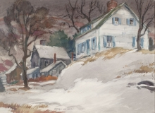 """""""Winter New England"""" © Frederic Whitaker Watercolor"""
