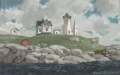 """""""York Light"""" 1974 © Frederic Whitaker 22x14 inches Watercolor - Maine"""