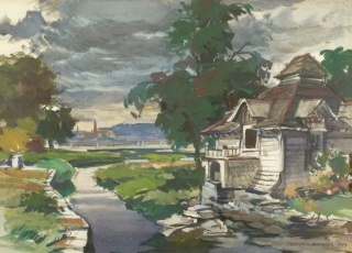 """Boat House"" 1949 © Frederic Whitaker 16x22 Watercolor -  Saugatuck River, Westport, Connecticut"