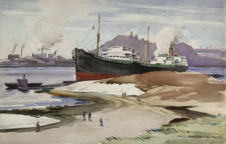 """S S Pan Rhode Island"" 1941 © Frederic Whitaker 14x22 inches Watercolor"
