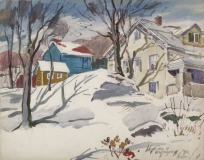 Winter - New England 1946 © Frederic Whitaker 22x30 Watercolor