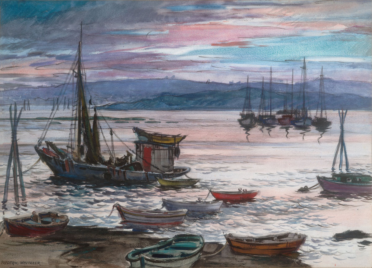 """Day is Done"" 1950 © Frederic Whitaker 22x30 inches Watercolor"