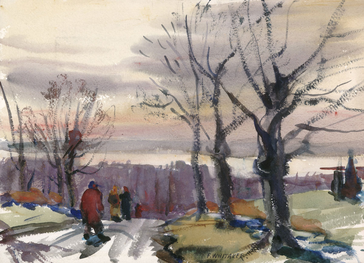 """On The Mountain Road"" 1939 © Frederic Whitaker 11x16 inches Watercolor"
