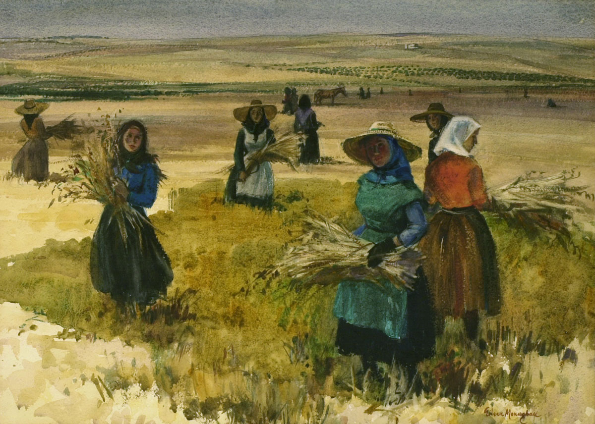 Harvest Time, Estremadura 1957 © Eileen Monaghan Whitaker 22x30 inches  The painting won the Henry Ward Ranger Purchase Fund Award of the National Academy of Design and the Ted Kautzky Award of the American Watercolor Society at their annual competitive exhibitions in 1958.