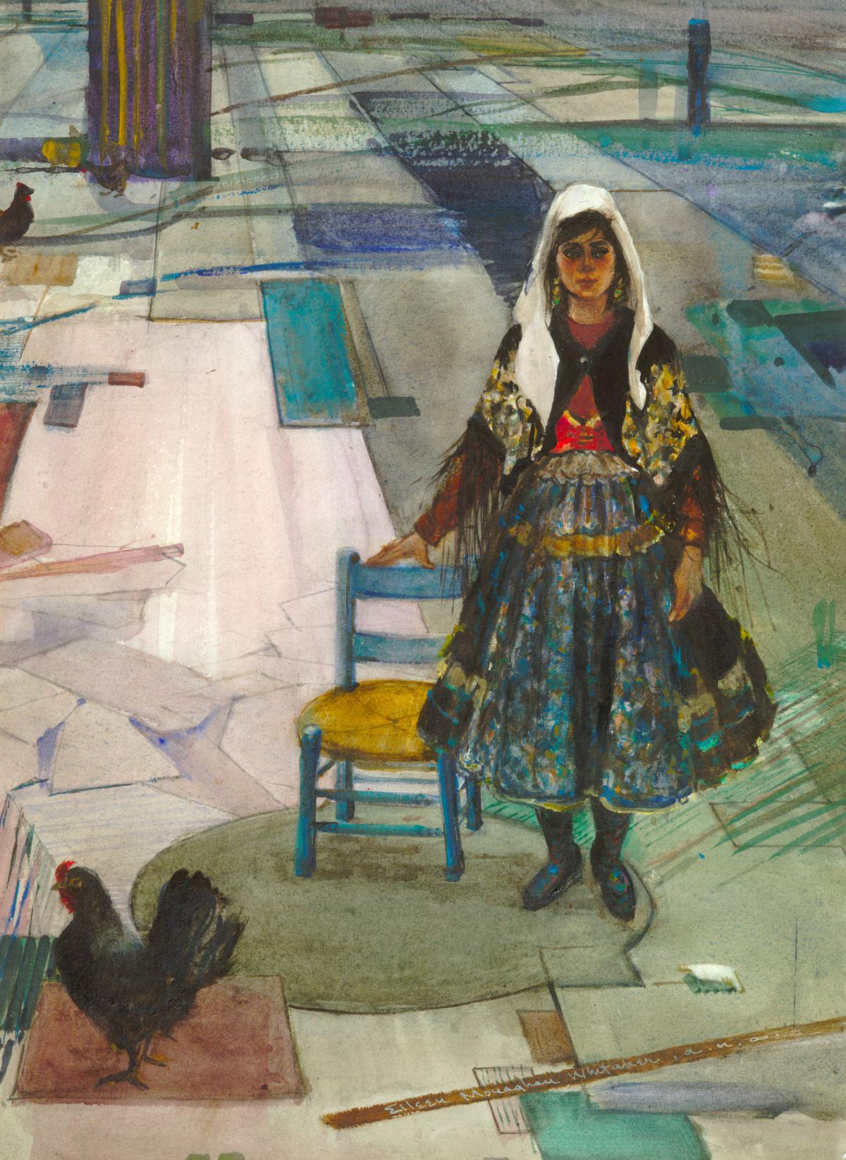 """Lagarterana #3"" 1971 © Eileen Monaghan Whitaker 22x16 inches Watercolor"