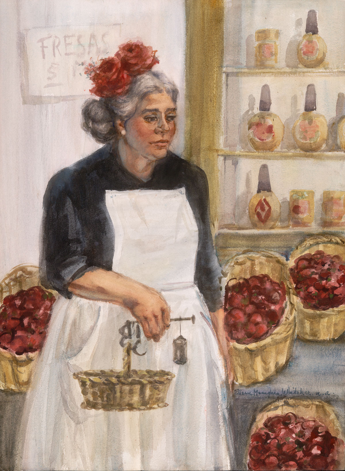 """""""Strawberries For Sale"""" 1971 © Eileen Monaghan Whitaker 30x22 inches Watercolor"""
