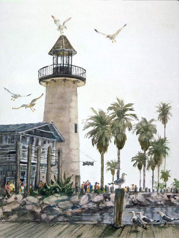 Oceanside Harbor Lighthouse 1983 © Eileen Monaghan Whitaker N.A. 22x16 inches Watercolor
