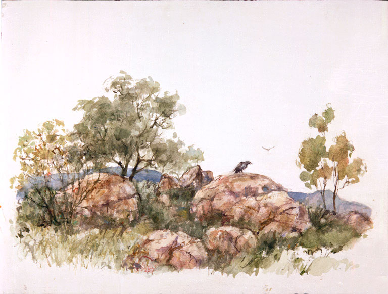 """Alpine Rocky Vista"" © Eileen Monaghan Whitaker 12x22 inches Watercolor"