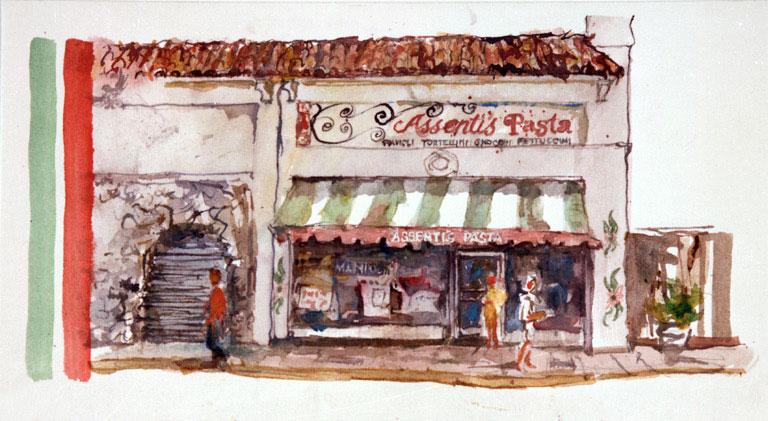 """Assentis Pasta"" © Eileen Monaghan Whitaker N.A. Watercolor"