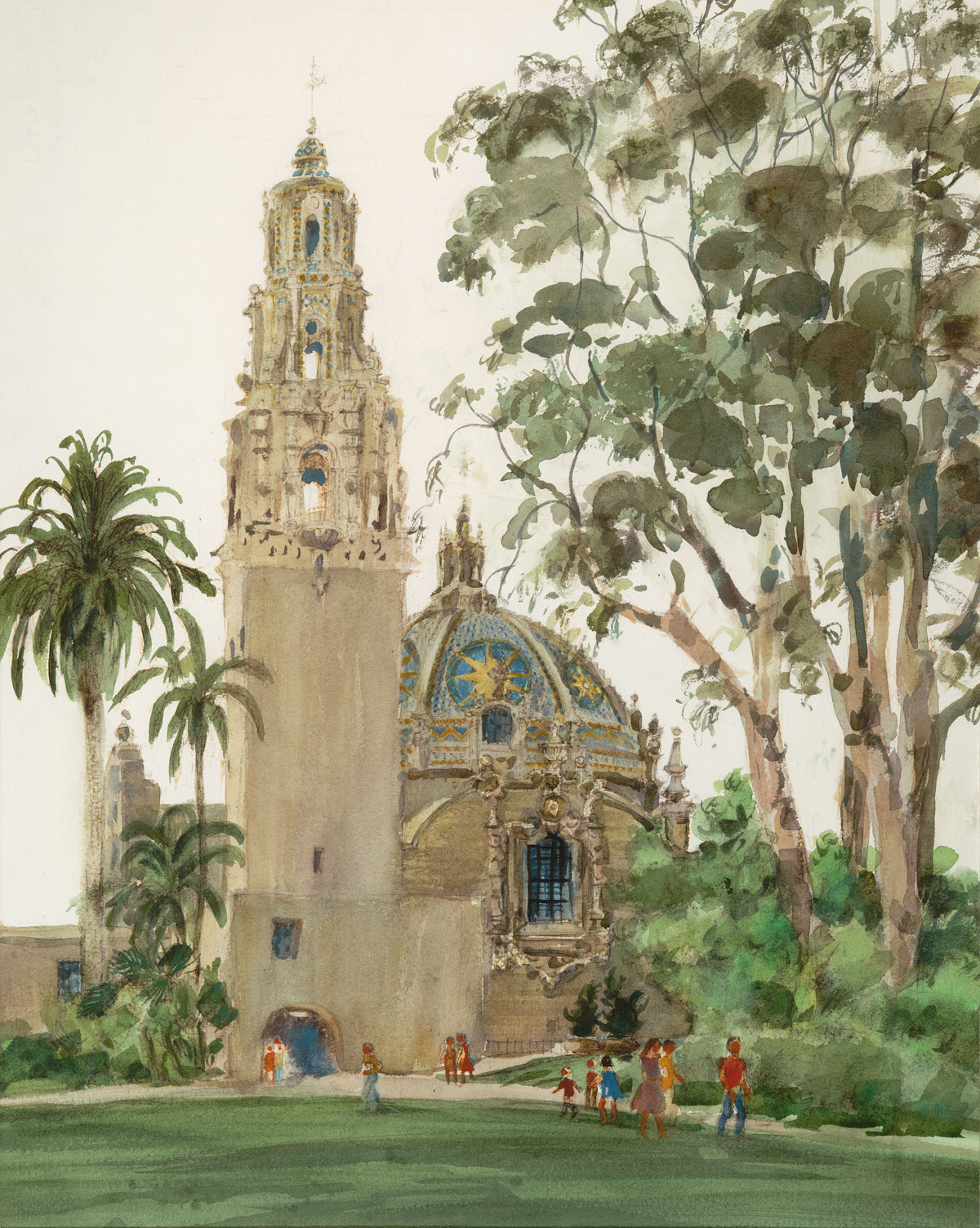 """California Tower, Balboa Park, San Diego"" 1983-© Eileen Monaghan Whitaker 27.5x22 inches Watercolor"