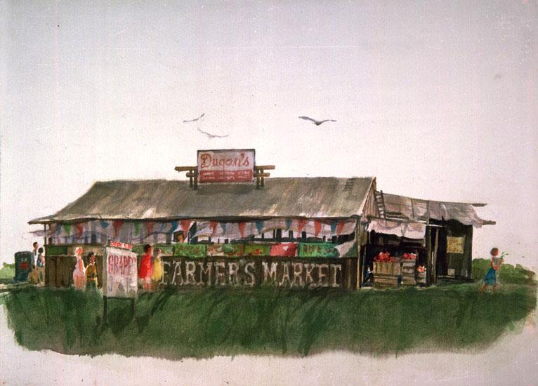 """Farmers Market Building"" © Eileen Monaghan Whitaker Watercolor"